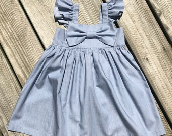 2e43c20f6a Fluffy sleeves light denim dress