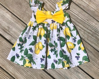 5e964460b Lemon birthday toddlers dresses, girls lemon outfit, girls lemon birthday  dress, baby girls lemon 1st birthday dress,lemon cake smash outfit