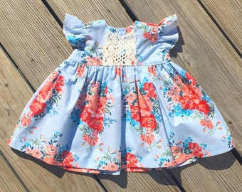 0f8cc137c8bf Blue Sky floral dress, blue coral floral Easter girls dress, toddler Easter  outfit, newborn coming home outfit, birthday toddler dresses,