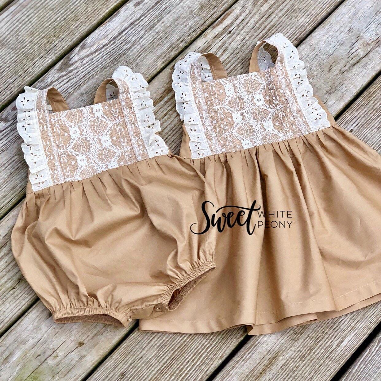 ea92b95b39f06 Easter Vintage mocha lace flower girls dress girls vintage   Etsy