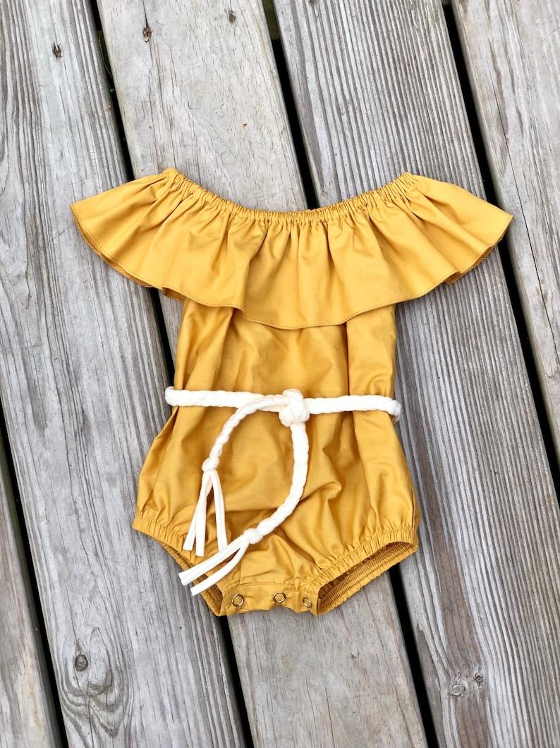 dd51627a7afb Mustard baby girls bodysuit   toddler summer birthday outfits
