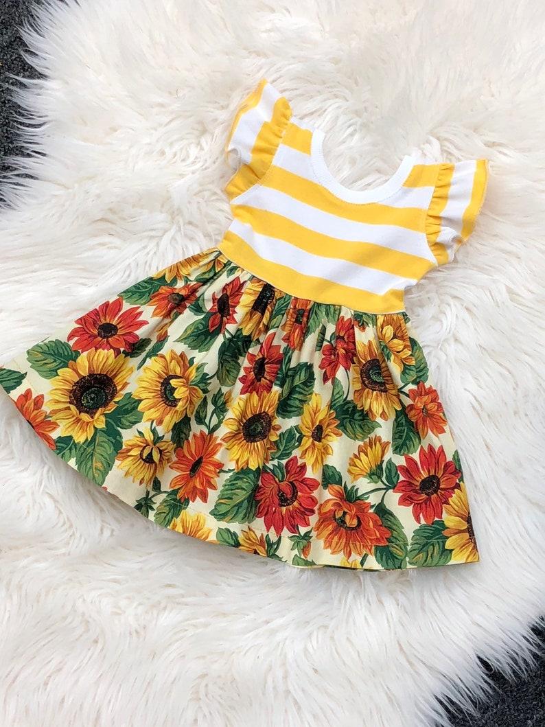 cfedeafb1cf2 Mustard sunflower dress / fall floral dress / flutter sleeves | Etsy