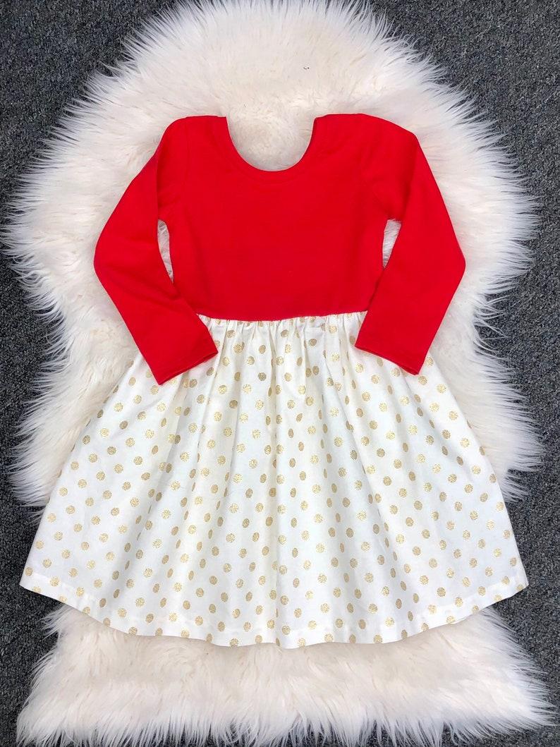 3c63a82fd Red valentine day gold dot dress