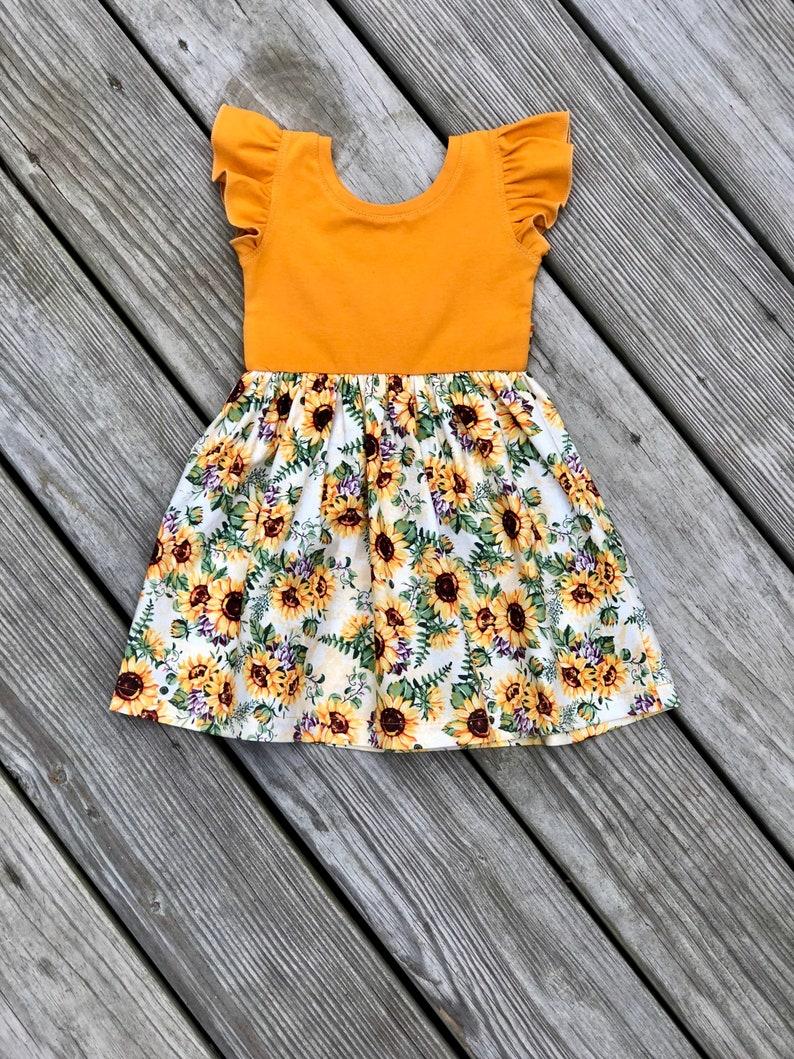 cd38e2e4aef6 Mustard sunflower dress / Easter floral dress / flutter | Etsy