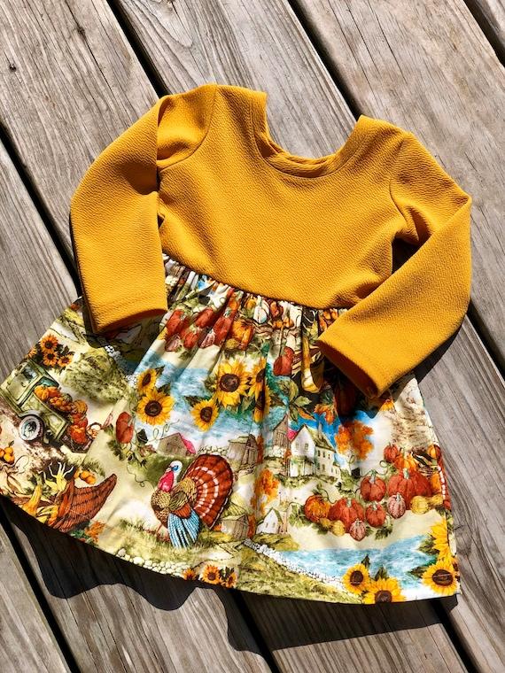 Turkey Peasant dress thanksgiving outfit fall dress Newborn to girls 1112