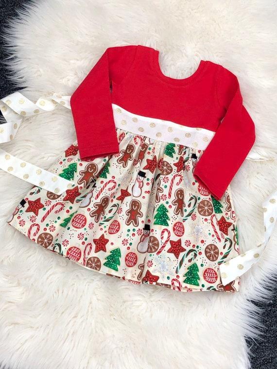 Toddler Christmas Dresses.Gingerbread Cookies Christmas Dress Christmas Dresses Toddler Christmas Gingerbread Dress Red Christmas Dresses Red Gold Dress Newborn