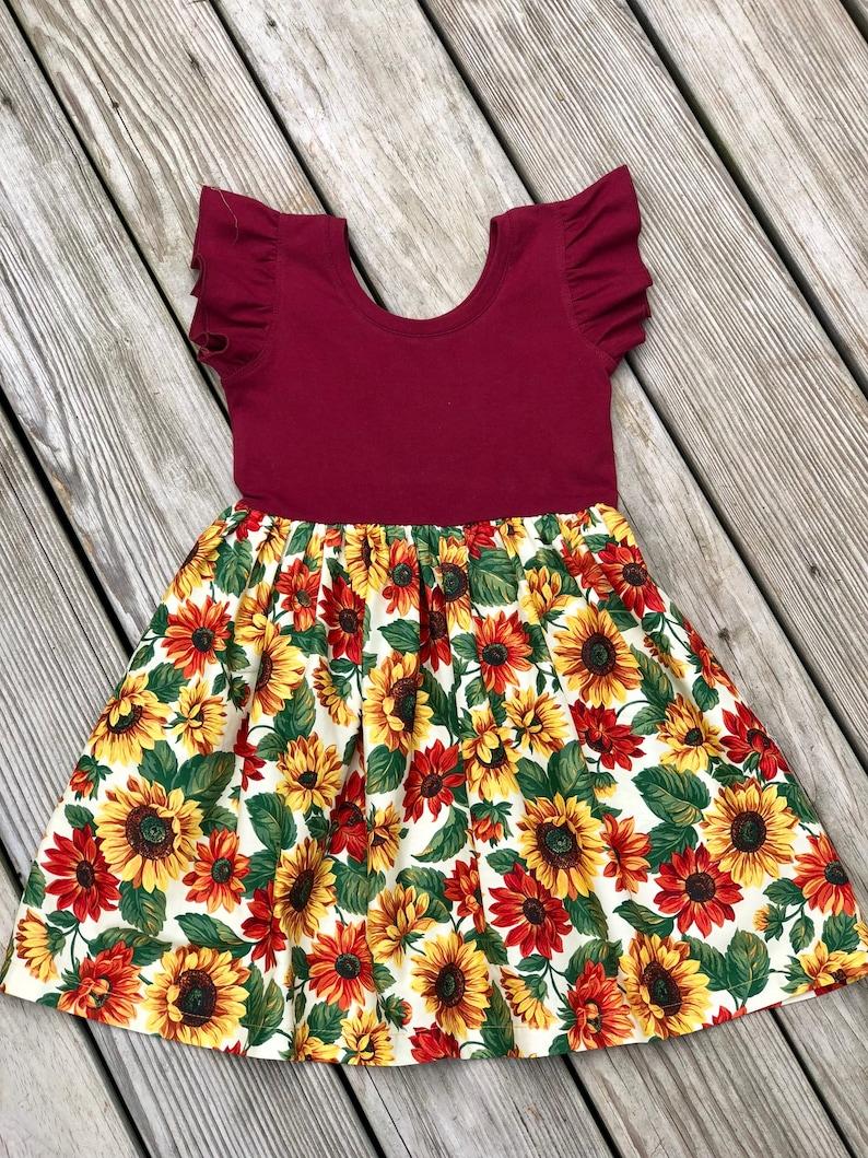 cdec04bcec65 Burgundy sunflower dress / fall floral dress / flutter sleeves | Etsy
