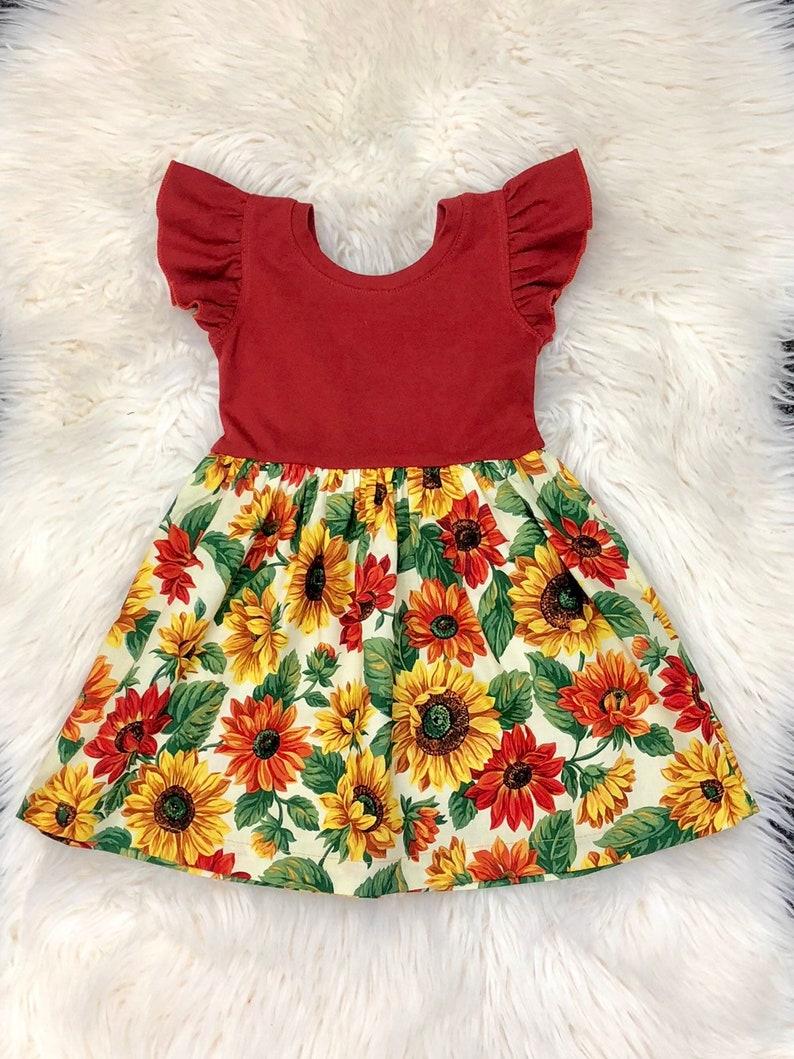 74be9c410ea8 Sunflower dress / floral dress / flutter sleeves dress / baby | Etsy