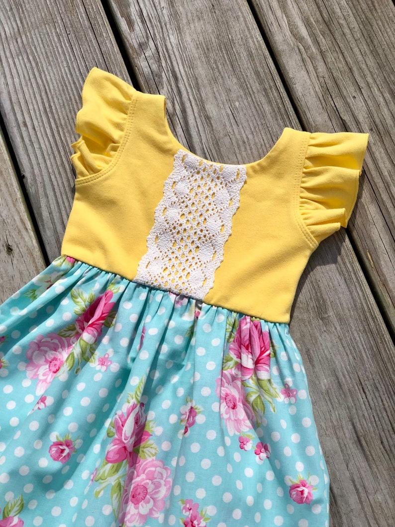 b96c950ebd2 Easter dresses  blue floral Easter toddler dresses  girls