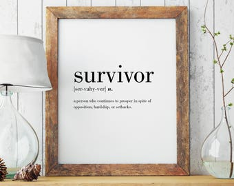 Survivor Definition Print   Survivor Wall Art   Survivor Poster   Minimal Print   Modern Print   Type Poster   INSTANT DOWNLOAD #DP29