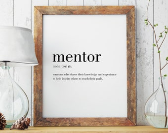 Mentor Definition Printable | Minimal Print | Mentor Print | Modern Print | Mentor Gift | Type Poster | INSTANT DOWNLOAD | #DP44