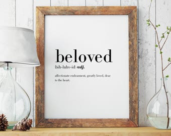 Beloved Definition Print   Wall Art   Wall Decor   Minimal Print   Beloved Print   Modern Print   Beloved   Type Poster   INSTANT DOWNLOAD
