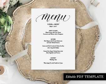 Menu Template | Menu Card | Menu | Wedding Menu PDF Template | Wedding Menu | Wedding Menu Template | Instant Download | PDF Template