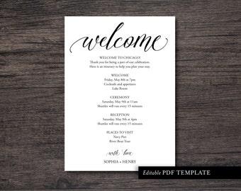 wedding itinerary etsy