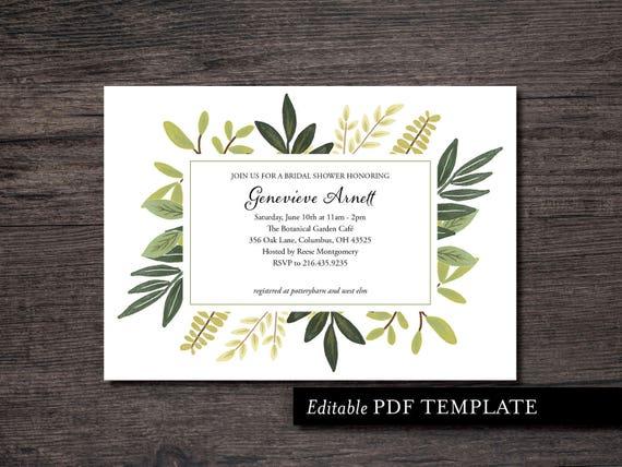 Botanical Bridal Shower Invitation Template Botanical Shower Etsy