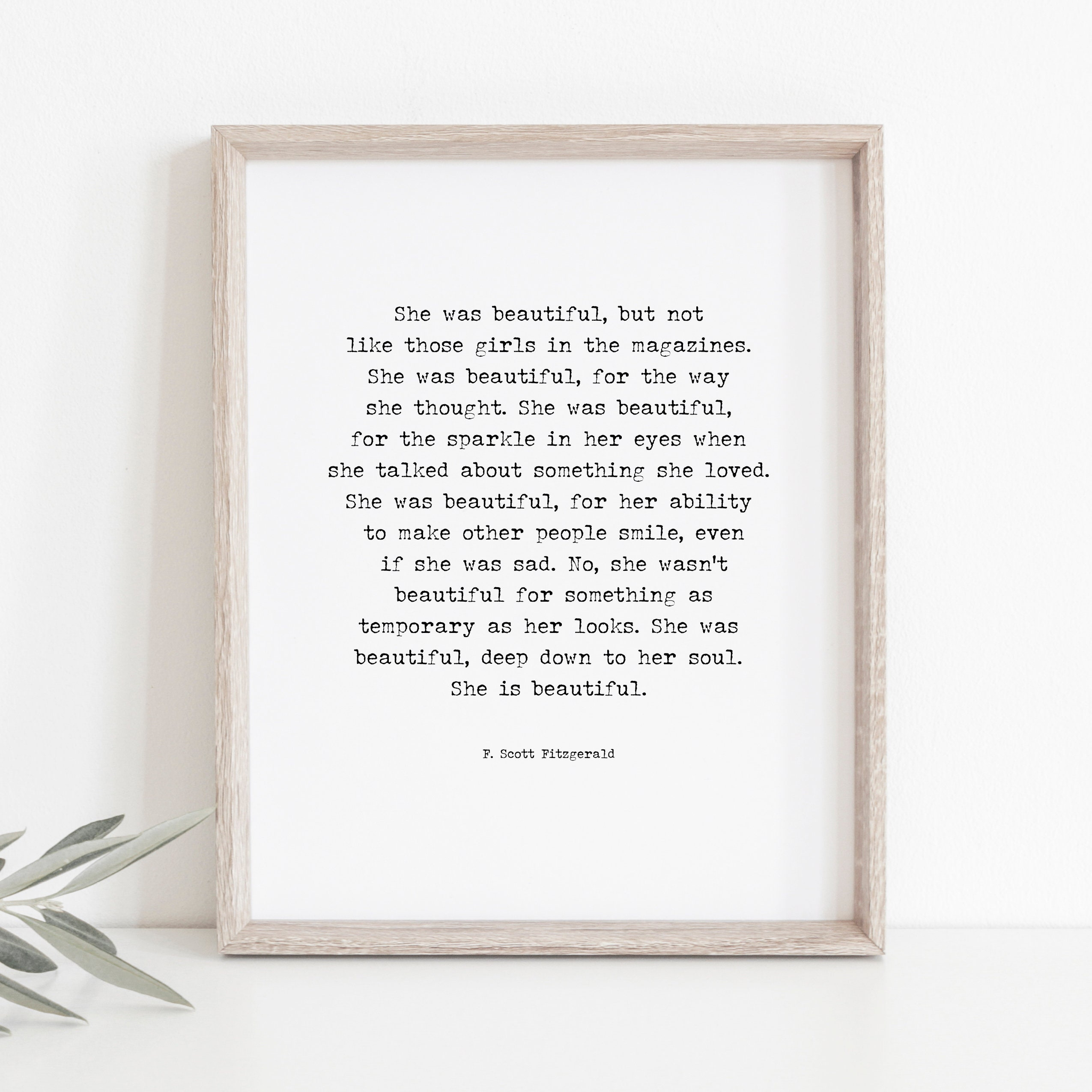 F Scott Fitzgerald Quote She Was Beautiful Quote She Is Etsy