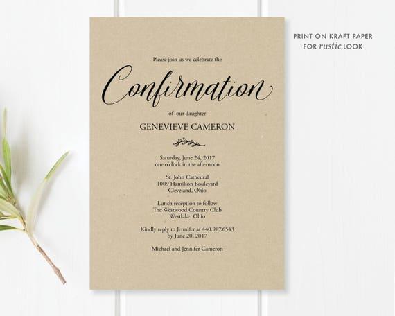 confirmation invitation printable editable pdf template etsy