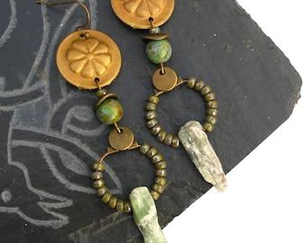 Long boho rustic dangle earrings, gems gemstone green kyanite  bronze urban primitive bohemian Kuchi Czech glass gypsy unique whimsical ooak