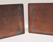 Heintz Sterling on Bronze Mission Arts Crafts Era 1912 Vintage Pair Bookends