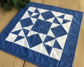 Blue Quilted 16 Table Topper Handmade Blue and White Geometric Star Square Table Runner