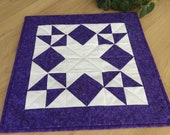 Purple Quilted 16 Table Topper Handmade Purple Geometric Star Square Table Runner