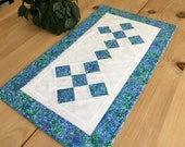 Quilted Blue 26 Table Runner Handmade Rectangle Blue and White Patchwork Table Topper