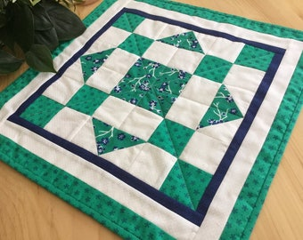 Blue and Green Square Table Topper Quilted Navy Blue and Kelly Green Handmade Patchwork Table Runner Free Shipping