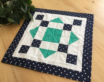 Blue and Green Handmade Quilted Table Topper Navy Blue and Kelly Green Quilted Square Runner or Centerpiece Free Shipping