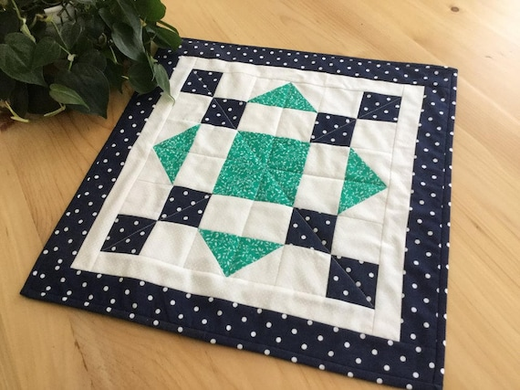 Blue And Green Handmade Quilted Table Topper Square Navy Blue Etsy