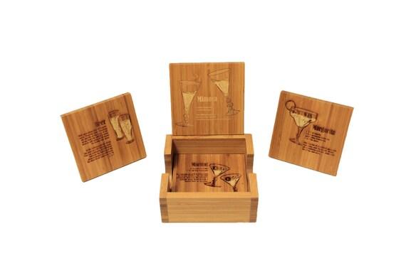Bamboo Coaster Set Laser Engraved With Holder