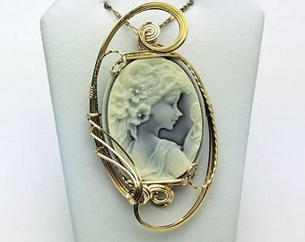 Wire Wrapped Cameo Pendant 14kt Gold Filled Wire Wrapped Fairy Cameo Pendant