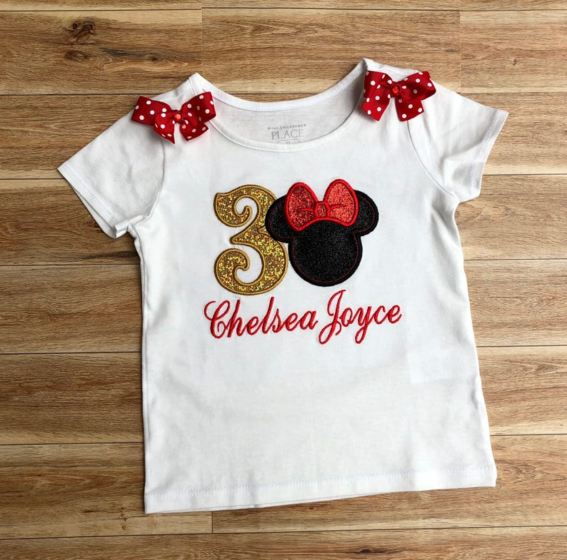 f4e2cfe7e8770 Minnie mouse t-shirt 3rd birthday outfit, custom t-shirt, 1st 2nd 3rd 4 5th  Birthday Personalized Embroidered Peppa Pig, CupCake, Elmo