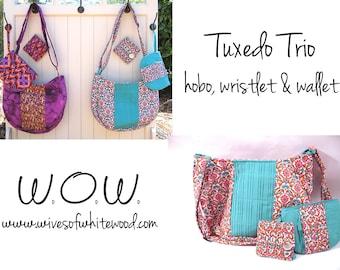 Tuxedo Trio (Hobo, Wristlet, and Wallet) PDF Sewing Pattern