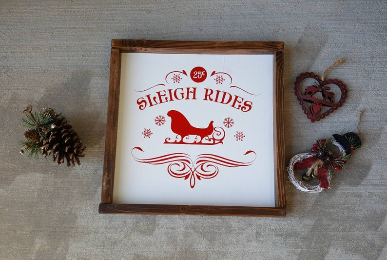 Christmas Sleigh Ride Home Decor Christmas Decor Wall Decor Rustic Free Shipping