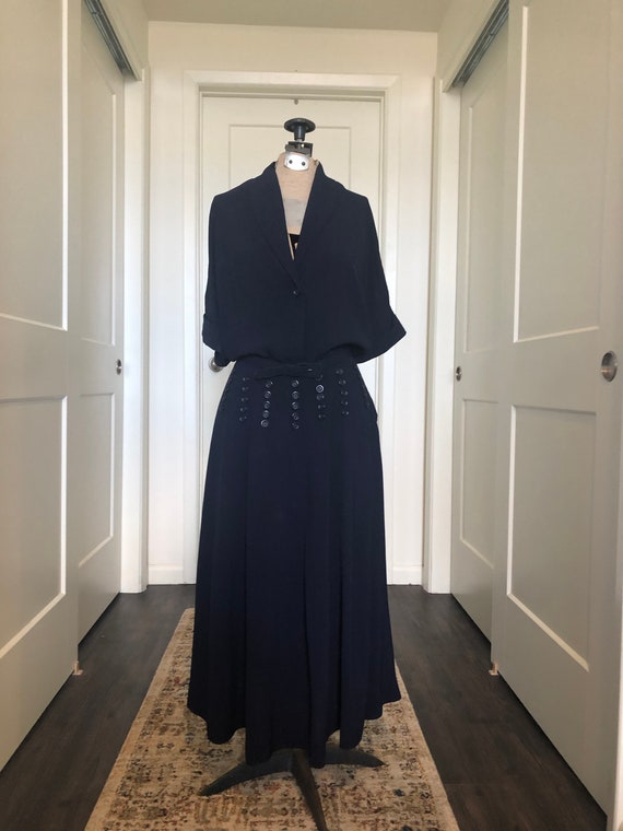 1940's, Navy Blue Rayon Crepe Button Dress