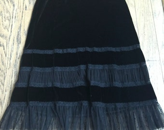 SALE - Ralph Lauren Black Velvet Lace Skirt