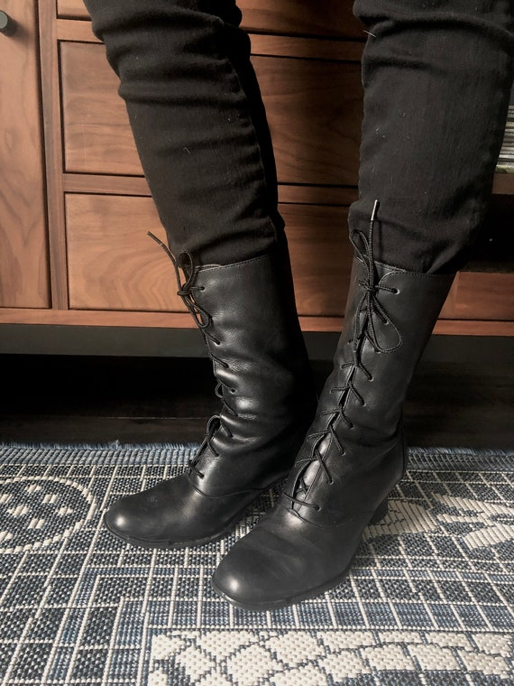 Granny Leather Lace Up Mid Calf Boots