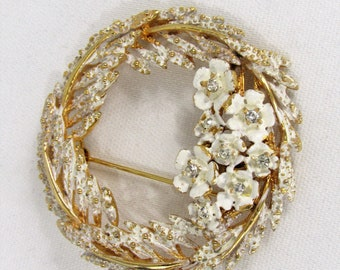 f7553c46d Alice Caviness Brooch Signed Alice Caviness Brooch Gold Tone White Frosting  Brooch Vintage Wreath Brooch Rhinestone Pin
