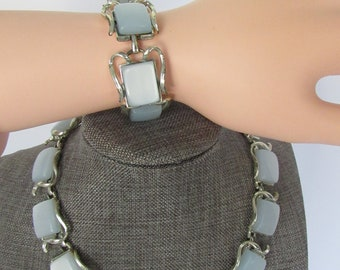 Vintage Signed Coro Pegusas Blue Moonglow Lucite Thermostate On Silvertone Necklace and Bracelet