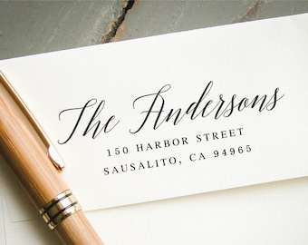 Return Address Stamp, Self Inking Address Stamp, Address Stamp, Wedding Address Stamp, Custom Address Stamp, Calligraphy Address Stamp