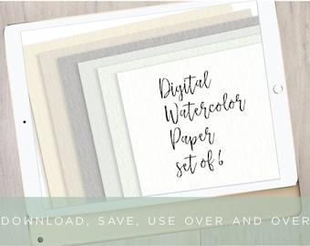 6 Digital Watercolor Paper Backgrounds | Digital Paper Set | iPad Pro Procreate Lettering | Brush Lettering Background by Kestrel Montes