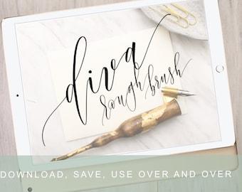 Diva Dip Pen Procreate Calligraphy Brush | Modern Lettering Brush | iPad Pro Procreate Installable Brush | Calligraphy by Kestrel Montes