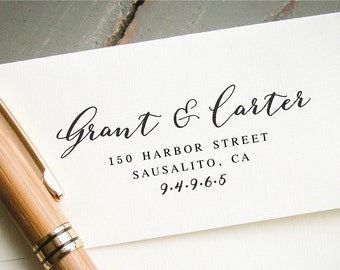 Self-Inking Address Stamp, Two Last Names, Custom Rubber Stamp, Personalized Address Stamp, Return Address Stamp, Wedding Stationary