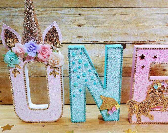Unicorn letters, Unicorn party, unicorn first birthday, ONE unicorn letters .....This price is for a single letters  .