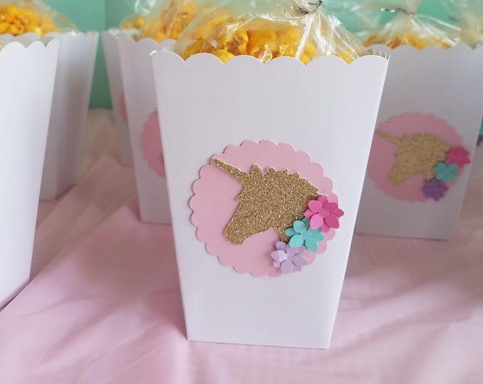 Unicorn  Mini Popcorn box,Unicorn party favor,Magical Unicorn party ( This Price Is For A Single Boxe )