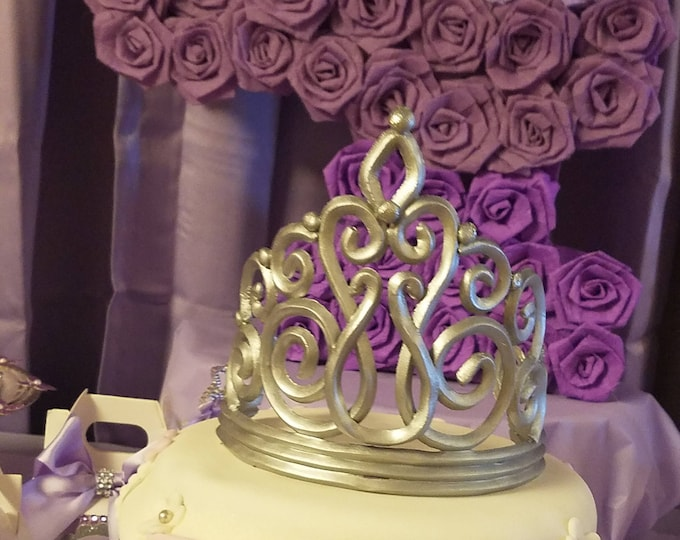 Silver Tiara cake topper, Crown cake topper, Silver or gold crown cake topper, princess party cake topper,Prince party, Baby shower...