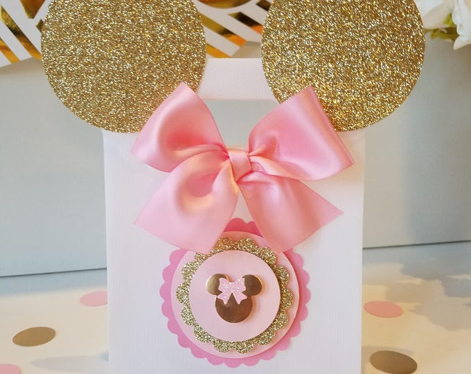 Pink and gold Minnie Mouse bags!Gold Minnie Mouse Party favors,gold Minnie Mouse party,Royalty Minnie mouse (This Price Is For a single Bag)