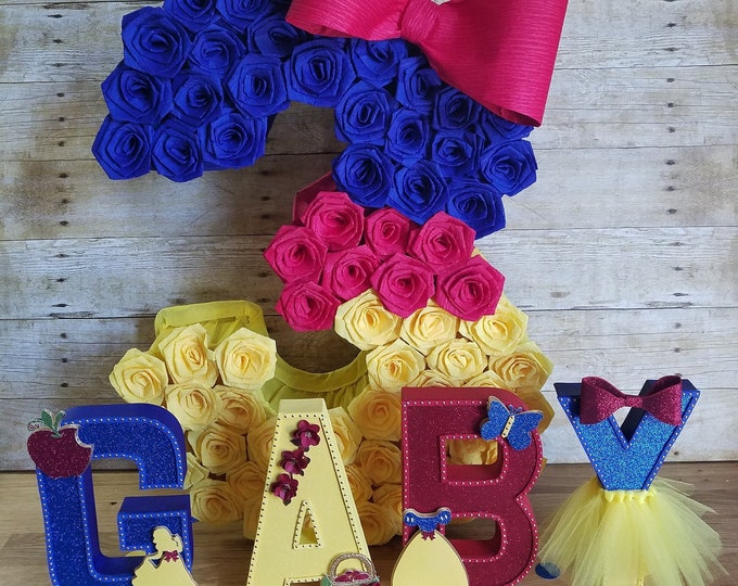 Snow White pinata Inspired ,Number one pinata,Snow white inspired princess, princess party , royalty party, Number 1 piñata....