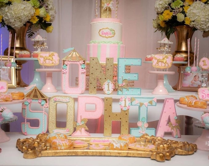 Carousel Theme letters , Pink and gold  carousel letters  ,Pink and gold  Party, Carousel  party, carousel horse party