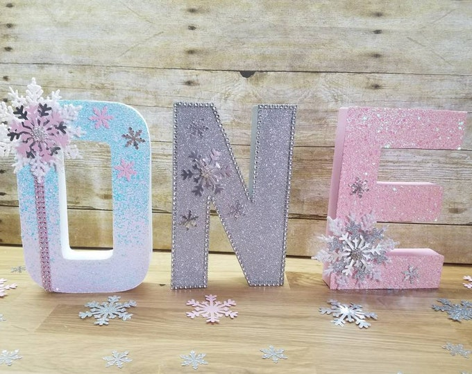 Wonderland party,One letters Winter party,Wonderland Letters ,Snowflake baby shower, Snowflake Decorations , Winter and 1st Birthday Party